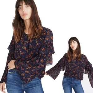 Madewell Floral Flutter Sleeve Top